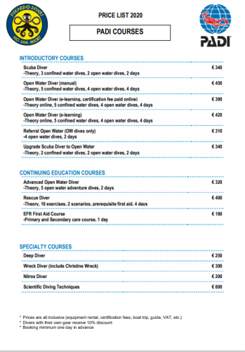 Price list Padi course