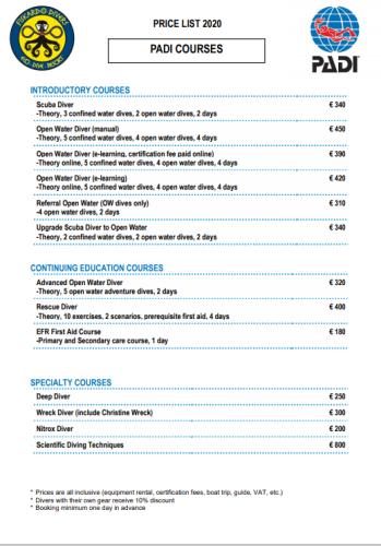 Price list Padi course