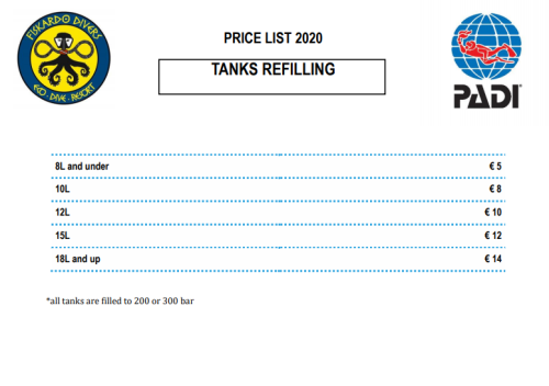Price list tank